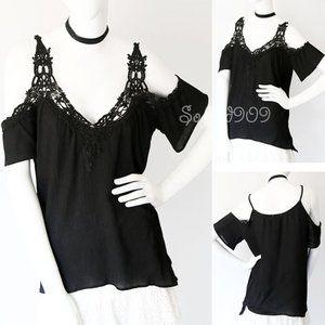 Black Crochet Lace Cold Shoulder Boho Gauze Top
